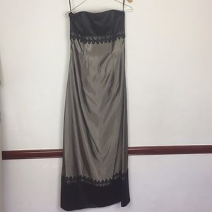 JESSICA MCCLINTOCK GOWN WITH CAPE SZ 4 BLACK TAUPE